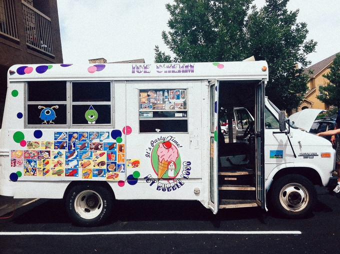 a short bus --> ice cream truck --> sweet and savory bacon infused truck!