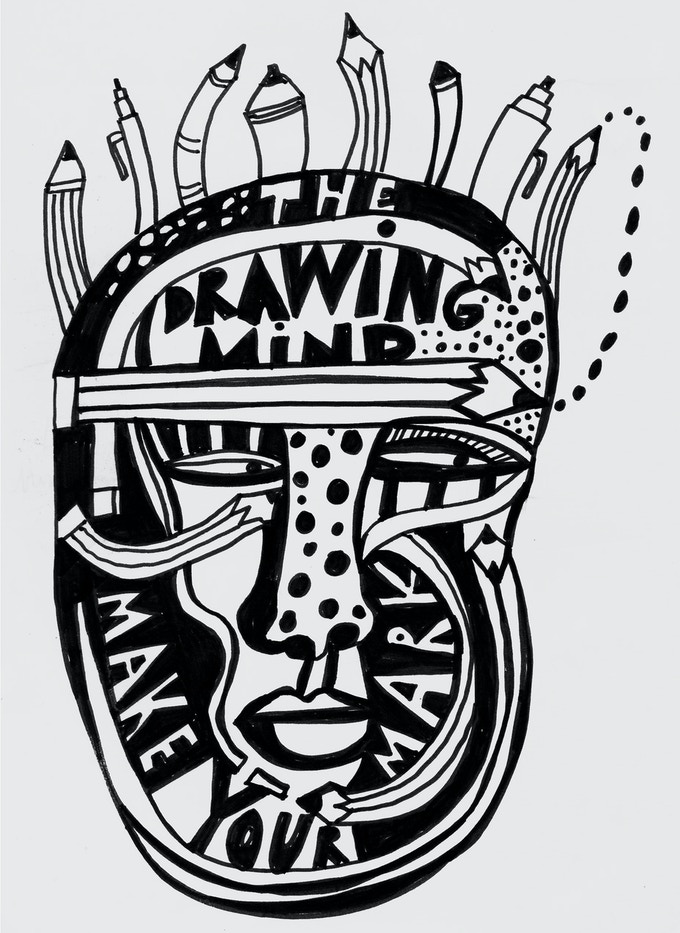 Drawing Mind tote bag and magnet.