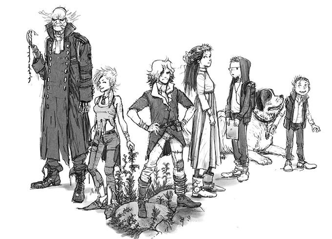 Hook, Tink, Peter, Wendy, John, Nanna, and Michael, by Alex Kosakowski