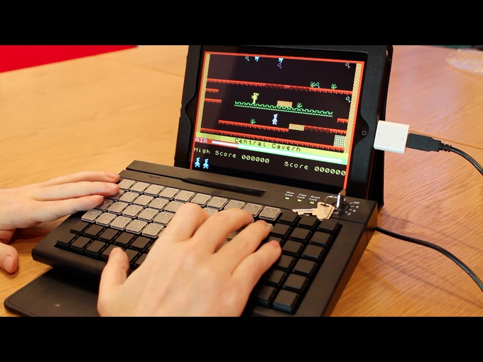 The Bluetooth ZX Spectrum app Manic Miner being played using the functional prototype Bluetooth ZX Spectrum.