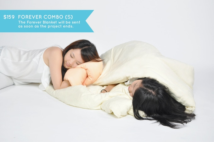 FOREVER COMBO (S): Wrap yourself in continuity. One Pillow of your choice and one Forever Blanket in cream (size 170cm x 90cm). Play around, bundle up and stay warm with the blanket that becomes a mattress and pillow as well! Big enough for two :)