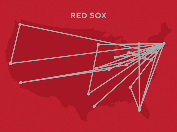 """Detail of Red Sox travel routes simulated on """"Electric Red""""."""