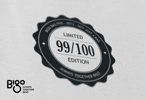 Limited edition of 1oo Bigo Bag Fives with series number on label.