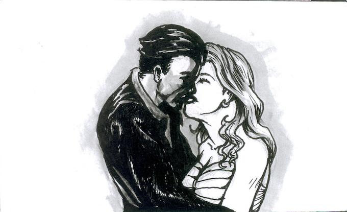 THE HERO KISSES HIS LOVE GOODBYE.