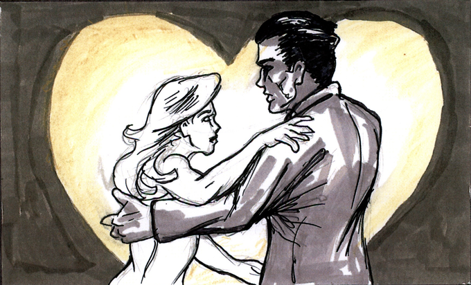 THE HERO'S WIFE RUNS TO HER LOVER , AWAY FROM THE BOSS.