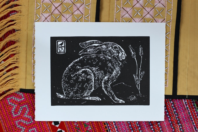An example of a flora fauna themed print from my series about California. (For a pledge of $25 you can choose your favorite print from the Thailand Burma Flora Fauna series!) The new designs will be chosen after the workshops at the Puzzlebox are complete