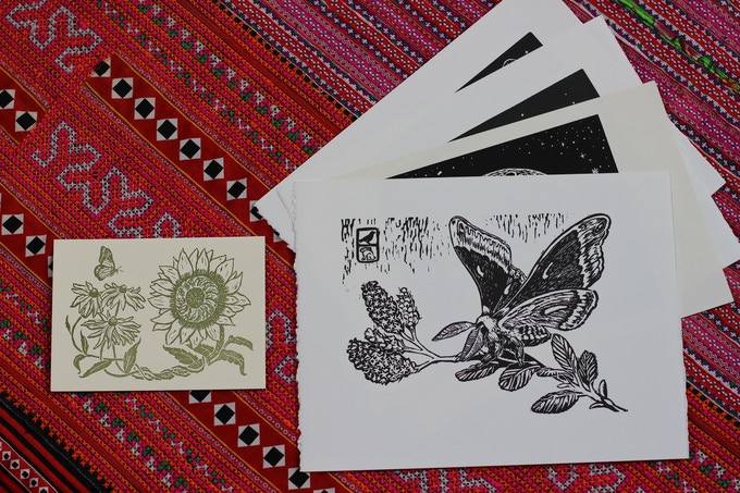 For a pledge of $225, you will receive the complete flora fauna print series as well as any smaller postcard-sized prints (the entire series will be different 8 prints).
