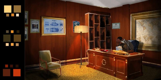 Set render of Oliver's office by Rebecca Runyon