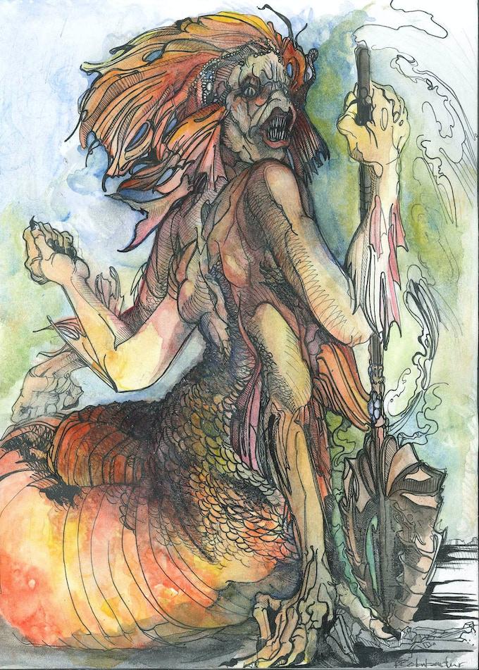 Water Naga - Card Artwork. Hand illustrated & painted