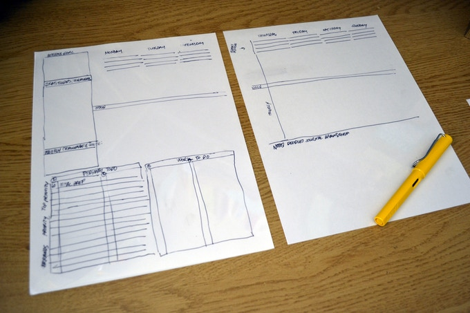 I transfered the idea onto two sheets in order to get a general idea of the spacing and scale for each section.