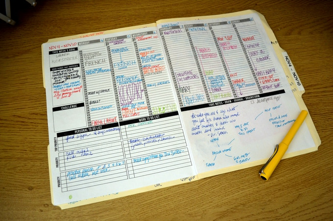 """My working prototype! I put the layout to work, using it personally as well as electing 10 friends to """"test-run"""" it for a week. Then I collected feedback and did some adjustments. This is a picture of my actual schedule for a week."""