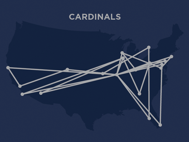 """Detail of Cardinals travel routes simulated on """"Nightshift Blue""""."""