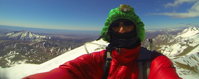 Francis Tapon on the summit of Mount M'Goun, the third tallest peak in Morocco's High Atlas Mountains. He traversed the entire mountain range in just 2 weeks.
