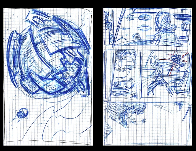 """I plotted the original story for """"Tell Me A Story..."""" by drawing sketches of my ideas in notebooks."""