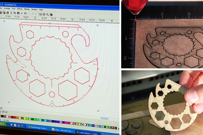 Laser cutting sample mockups to test proportions, certain functionality as well as thickness options.