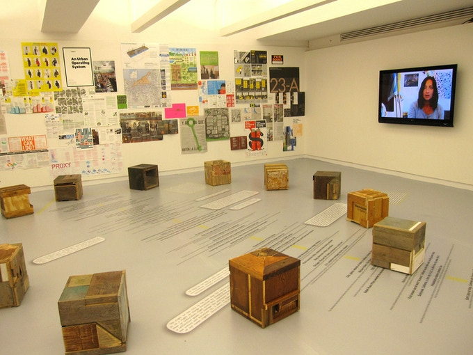 Installation of 60 cubes at Spontaneous Interventions-US pavilion for Venice Biennale at the Chicago Cultural Center