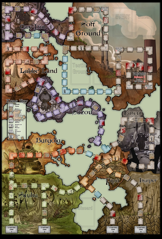 The game board and all components are lavishly illustrated by Jesse.