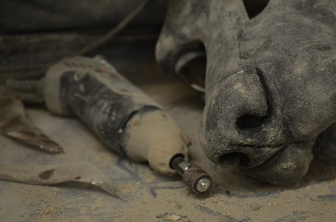 Carving a head 'blank' for a Jackal costume