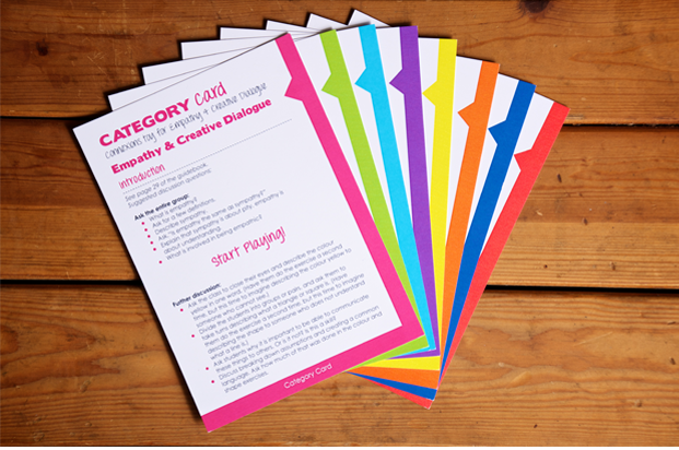 Workshop cards from Educator's Toy Package including lessons on how empathy leads to insights in teamwork, leadership, design thinking, scientific reasoning, and many other lessons.
