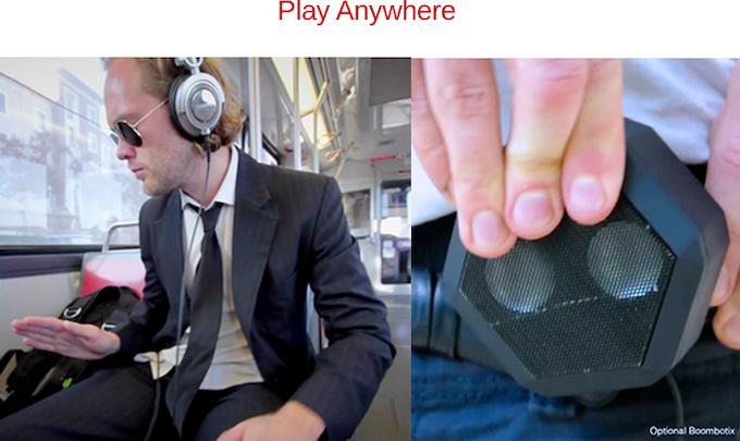 Headphone jack and optional external speaker available.