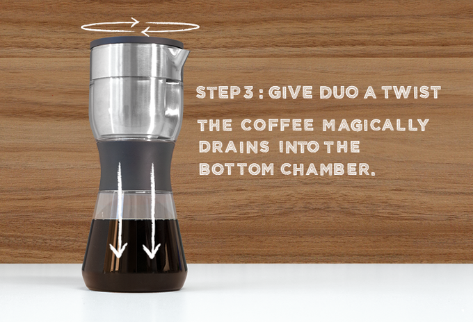 "A gratifying twist drains the coffee from the top to the bottom chamber.  All you have to do is pour straight from the Duo into your favorite ""World's Best Dad"" coffee mug.  It's that simple."