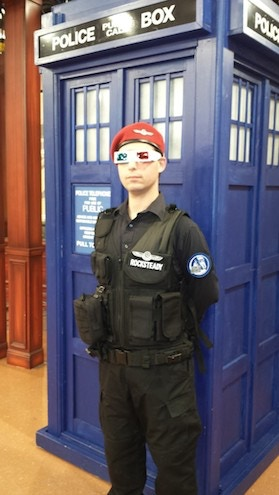 "FoB Build Team Member ""Rocksteady"" with the KdW TARDIS"