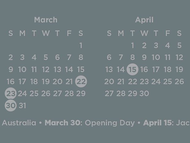 """Detail of calendar simulated on """"Steel Blue""""."""