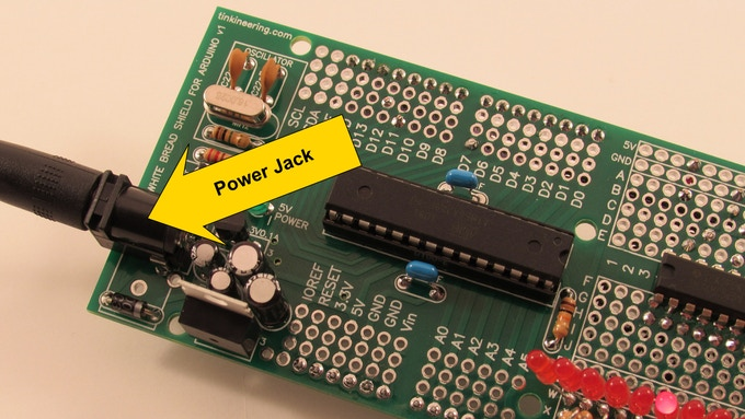 Power Jack (The Power Jack can be configured off the end of the board as shown or off the side of the board.)