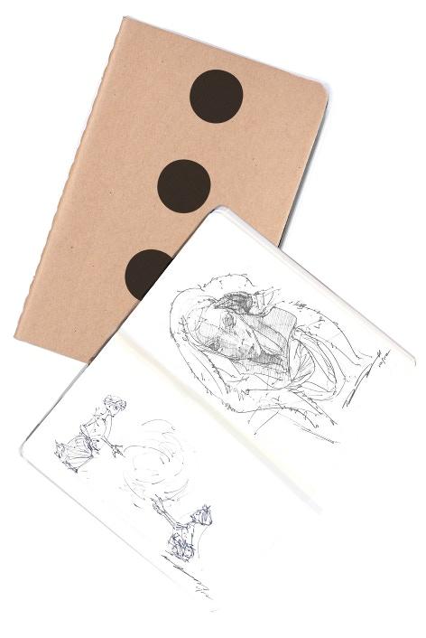 Mockups for the pocket-sized art book and blank sketchbook.