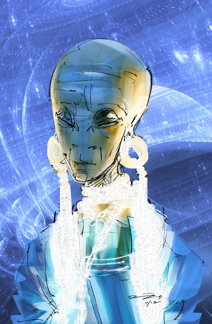 Level 4 backers will have their alien used as a background character, and recieve a colored print and digital copy of the drawing.