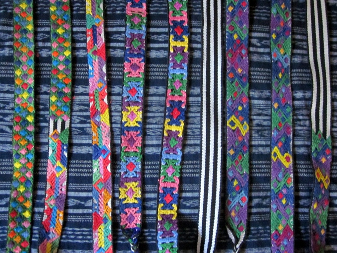 Different fajas from Santiago Sacatepéquez used to make our headbands