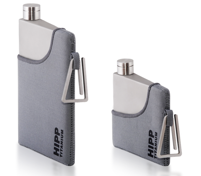 The Titanium flasks smartly dressed up in the optional neoprene jackets and Ti Hooks
