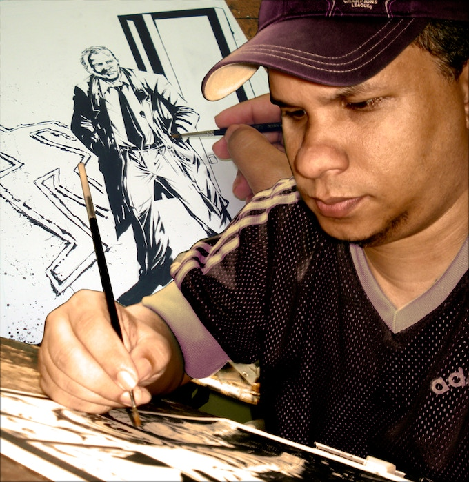Silvio Db working on the cover art