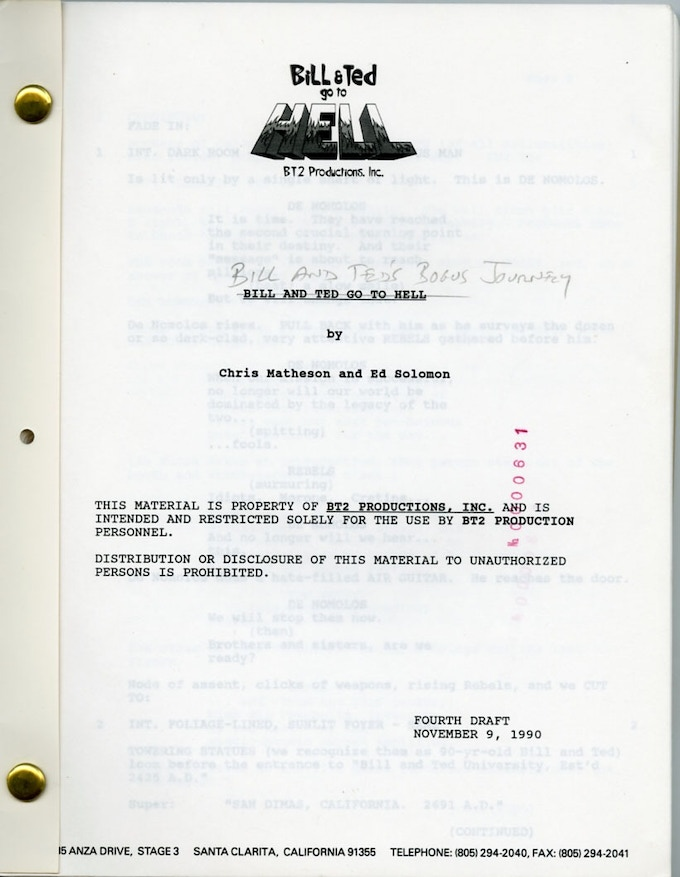 AUTOGRAPHED BILL & TED'S BOGUS JOURNEY SCREENPLAY