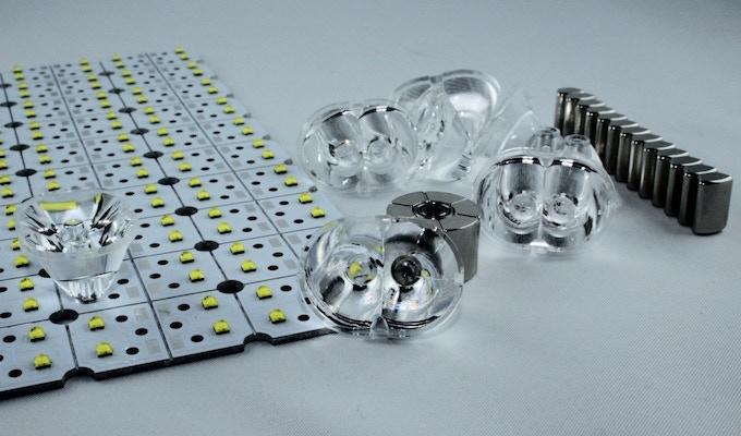 LEDs, lenses, magnets