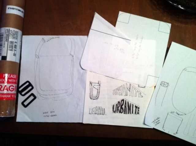 Initial rough sketches of the bag and logo.