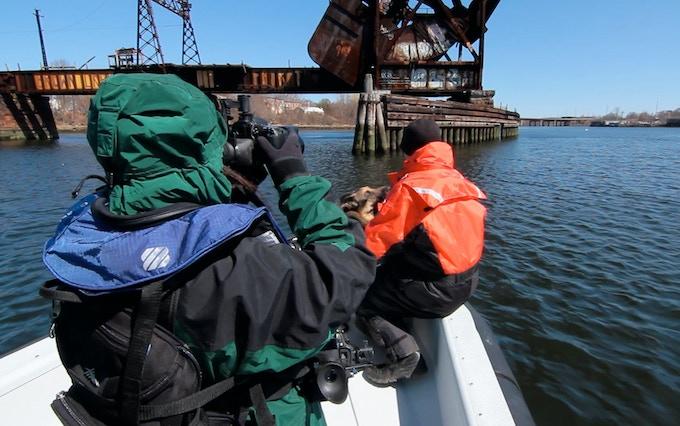 Filming Scott Carleston & K9 Bear on a watersearch