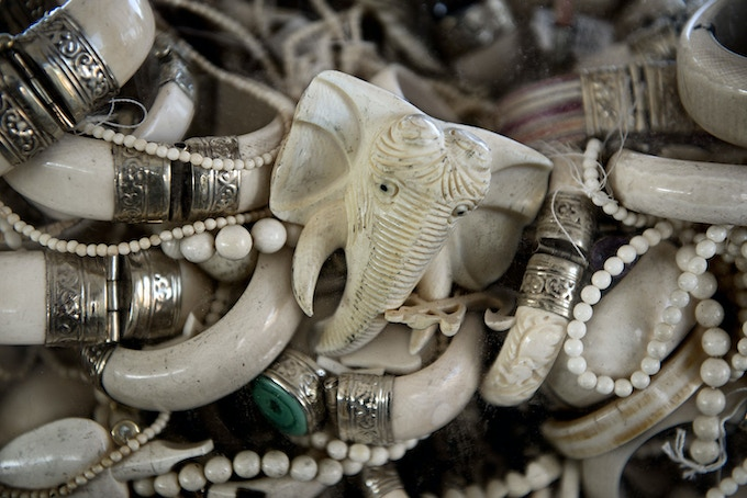 Trinkets and jewelry made from ivory.