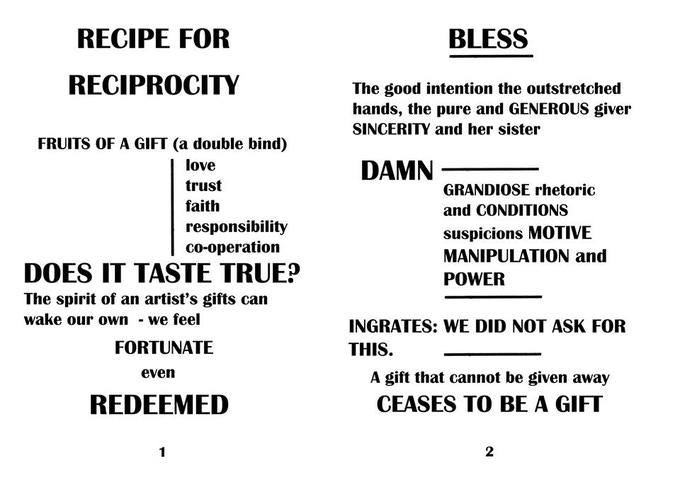 Jean McEwan 'Recipe For Reciprocity' 2xA1 digital prints of two part text work 2013