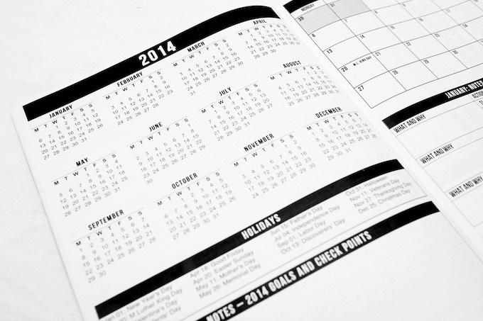 Full annual 2014 calendar