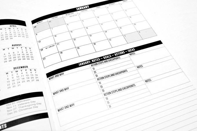 Each month has a full page dedicated to a monthly overview and space to break down and plan your three main goals for the month