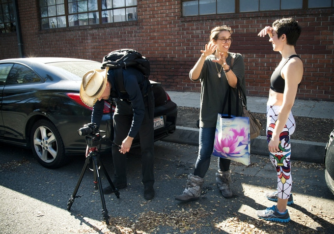 Erica and I talking about the next skit while Chris gets the camera ready ...