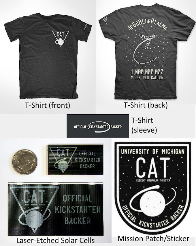 """""""Official Kickstarter Backer"""" T-shirts, stickers, mission patches and laser-etched solar cells with CAT logo and exclusive designs."""