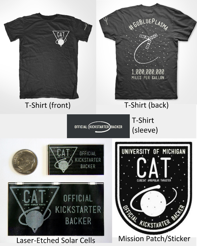 """Official Kickstarter Backer"" T-shirts, stickers, mission patches and laser-etched solar cells with CAT logo and exclusive designs."