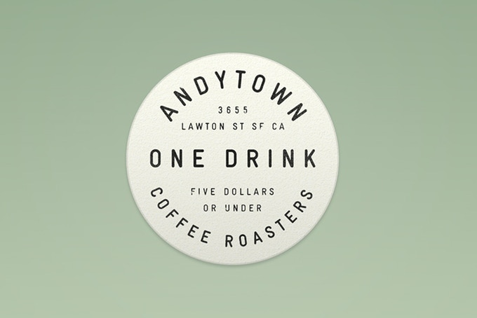 Even our smallest pledge level gets a real physical Andytown product—an official Andytown pog letterpressed in the Bay Area. Bring in your pog and redeem it for a drink of $5 or lesser value.