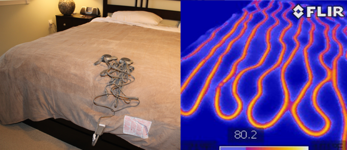 "Electric blanket on test bed, same electric blanket on same bed after 45 minutes on ""Hi"""