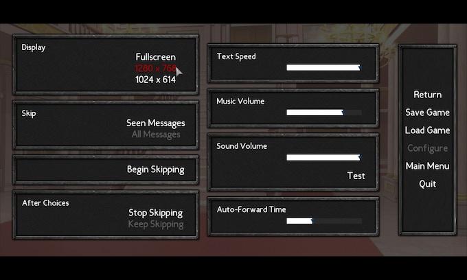 Preferences Menu, an example of game menu UI
