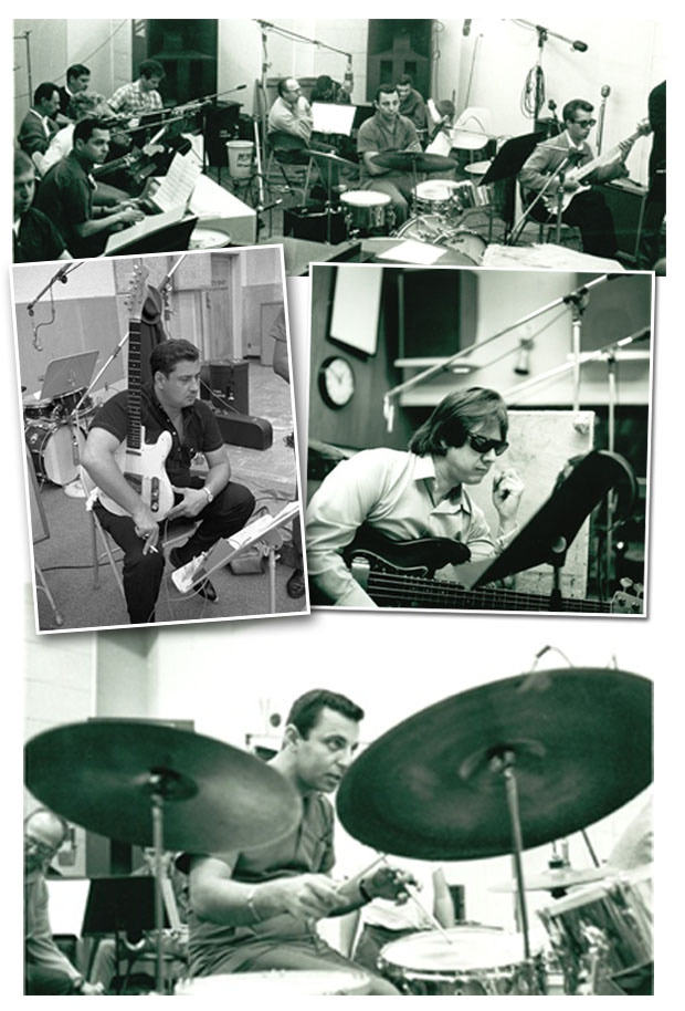Top: members of the Wrecking Crew recording with Phil Spector at Gold Star Studios. Left: Tommy Tedesco. Right: Joe Osborn. Bottom: Hal Blaine