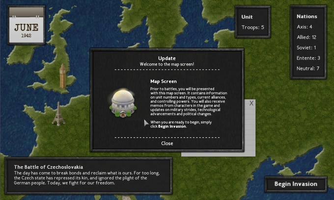 Example of the map screen. It includes updates, memos from characters in-game, clickable icons and divided regions to invade