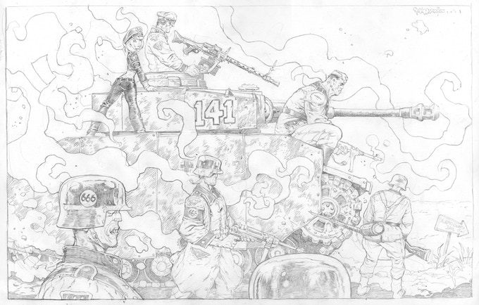PANZER ATTACK pin-up page above